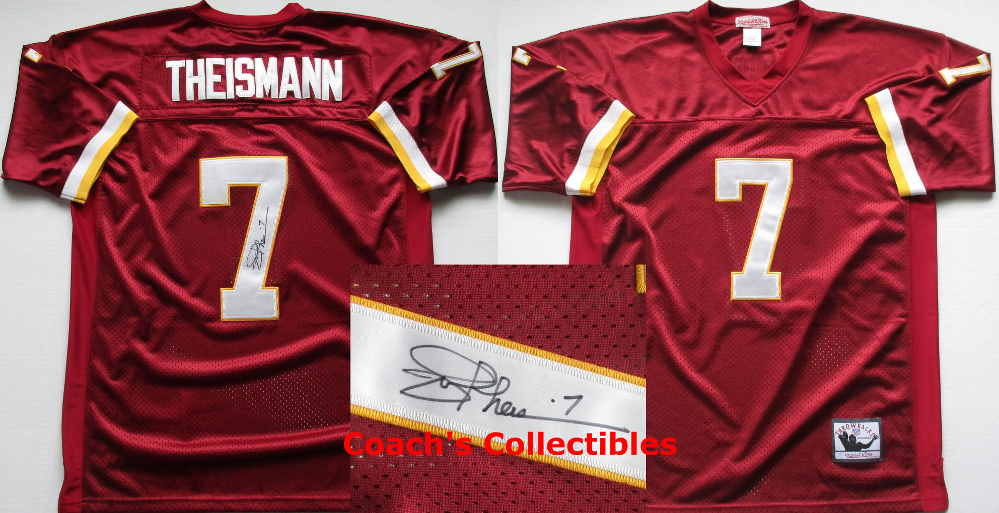 3767c89b1 Joe Theismann Autographed Washington Redskins Throwback Jersey (Size 54 w  sewn numbers + letters- 150)